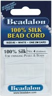 Silk Bead Cord .60mm 6.5 Feet/Pkg-White by Beadalon: Product Image