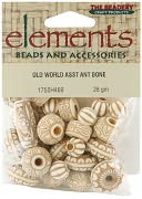 Elements Old World Assorted Beads 28 Grams/Pkg-Antique Bone by Beadery: Product Image