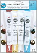 Candy Decorating Pens 1.6 Ounces 4/Pkg-Red/Yellow/White/Blue by Wilton: Product Image