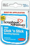 "Click 'n Stick Permanent Mounting Squares 1000/Pkg-White .5""X.5"" by 3L: Product Image"