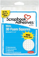 "3D Permanent Foam Squares 308/Pkg-White .25""X.25"" by 3L: Product Image"