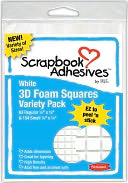 "3D Permanent Foam Squares Variety Pack 217/Pkg-White - (63) .5""X.5"" & (154) .25""X.25"" by 3L: Product Image"