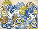Blue Awning Chipboard-Buttons by K&amp;Company: Product Image