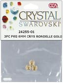 Swarovski Crystal Spacer Beads Rondelle 6mm 3/Pkg-Gold by Cousin: Product Image