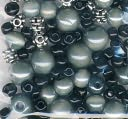 Bracelet Blends Beads-Oval Mix Black/Grey by Cousin: Product Image