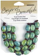 Beyond Beautiful Ceramic Beads-9x12mm Green Turquoise Oval 52/Pkg by Cousin: Product Image