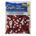 Pony Beads 6x9mm 720/Pkg-Usa-Red/White/Blue by Darice: Product Image