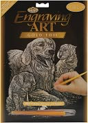 Gold Foil Engraving Art Kit 8&quot;X10&quot;-Golden Retriever &amp; Puppies by Royal Brush: Product Image