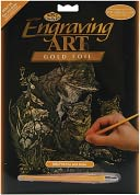 Gold Foil Engraving Art Kit 8&quot;X10&quot;-Fox &amp; Cubs by Royal Brush: Product Image