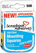 "Click 'n Stick Permanent Mounting Squares 500/Pkg-Clear .5""X.5"" by 3L: Product Image"