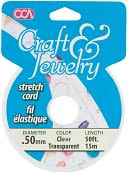 Craft & Jewelry Stretch Cord .5mm 50 Feet/Pkg-Clear by Cousin: Product Image