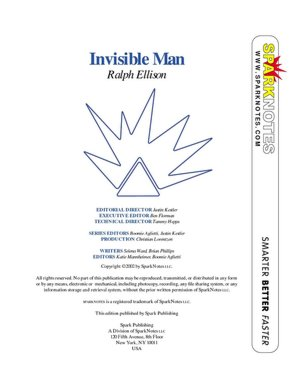 Invisible Man SparkNotes Literature Guide cover
