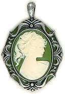 Blue Moon Lost &amp; Found Pendants-Cameo-Sage/Ant.Slv 1pc (68mmx48mm) by Blue Moon Beads: Product Image