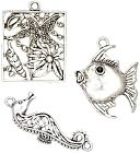 Blue Moon Enchanted Planet Metal Pendants-Fish/Seahorse/Square-Ant. Silver 3/Pkg by Blue Moon Beads: Product Image