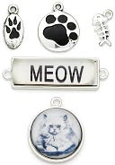 Blue Moon Tokens Metal Charms 5/Pkg-Antique Silver Cat by Blue Moon Beads: Product Image