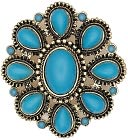 Blue Moon Royal Boheme Metal Pendant 1/Pkg-Flower Turquoise-Antique Silver by Blue Moon Beads: Product Image
