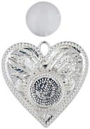 Blue Moon Design Studio Metal Pendants 2/Pkg-Heart with Bubble-Silver by Blue Moon Beads: Product Image