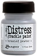 Distress Metallic Crackle Paint 1.1 Ounce Jar-Brushed Pewter by Ranger: Product Image