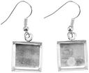Base Elements Square Dangle Earring Bases 1 Pair/Pkg-Silver Overlay 12.7mm by Amate Studios: Product Image