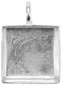 Base Elements Square Pendant Base 1/Pkg-Silver Overlay 15.78mm by Amate Studios: Product Image