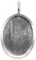 Base Elements Oval Pendant Base 1/Pkg-Silver Overlay 17x23.33mm by Amate Studios: Product Image