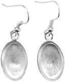 Base Elements Oval Dangle Earring Bases 1 Pair/Pkg-Silver Overlay 10.15x16mm by Amate Studios: Product Image