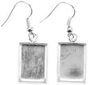 Base Elements Rectangle Dangle Earring Bases 1 Pair/Pkg-Silver Overlay 11x16.9mm by Amate Studios: Product Image
