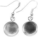 Base Elements Circle Dangle Earring Bases 1 Pair/Pkg-Silver Overlay 10.5mm by Amate Studios: Product Image