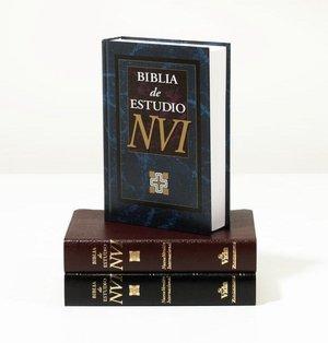 NVI Biblia de Estudio: Nueva Version Internacional, piel imitacion negro