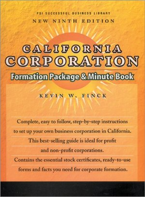 California Corporation Formation Package and Minute Book cover