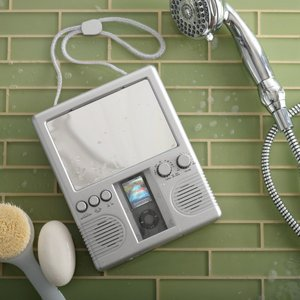 silver waterproof radio for the shower