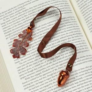 Lacy Oak Leaf & Acorn Copper Ribbon Bookmark