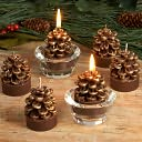 Gold Pinecone Tea Light Candles, Set of 6 by K&K Interiors: Product Image