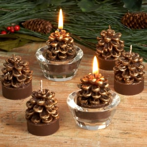 BARNES & NOBLE | Gold Pinecone Tea Light Candles, Set of 6 by K&K Interiors :  home decor candle