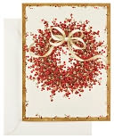 Berry Wreath Christmas Boxed Card by Caspari: Product Image