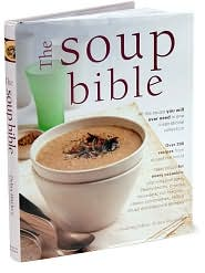 book cover: mauve-ish tones, a bowl of brownish, yet creamy, soup - The Soup Bible