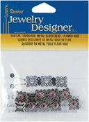 Metal Slider Bead W/Swarovski Crystal 10/Pkg-Flower/Rose by Darice: Product Image
