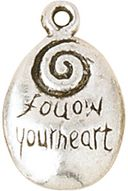 Blue Moon Silver Plated Metal Charms-Follow Your Heart 5/Pkg by Blue Moon Beads: Product Image