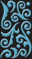 Bling Stickers-Blue Puffy Flourish by Jolees: Product Image