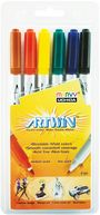 Artwin Double-Ended Water-Soluble Markers 6/Pkg-Black/Blue/Red/Green/Yellow/Brown by Uchida: Product Image