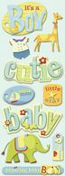 Adhesive Chipboard-Brenda Walton Baby Boy Words &amp; Icons by K&amp;Company: Product Image