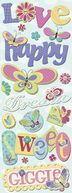 Adhesive Chipboard 4.5&quot;X13.5&quot; Sheet-Butterflies by K&amp;Company: Product Image