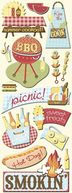 Adhesive Chipboard 4.5&quot;X13.5&quot; Sheet-Summer Fun Picnic by K&amp;Company: Product Image