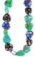 "Millefiori Glass Bead Strands- 12mm Hearts 7"" by Darice: Product Image"