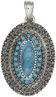 Blue Moon Royal Boheme Metal Pendant 1/Pkg-Oval Turquoise-Antique Silver by Blue Moon Beads: Product Image