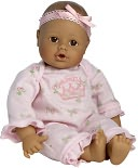 Adora Playtime Babies Medium Skintone & Brown Eyes with Pink Romper 13 inch Baby Doll by Charisma Brands: Product Image