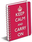 Keep Calm And Carry On Red Polypro Lined Spiral Journal 6.5 x 8.5 by Graphique de France: Product Image