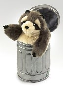 Raccoon in Garbage Can Puppet by Folkmanis: Product Image