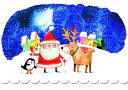 Santa With Reindeer Christmas Boxed Card by Papyrus: Product Image
