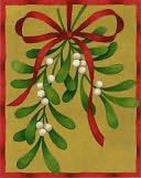 MISTLETOE W/RED RIBBON CHRISTMAS BOXED CARD by Caspari: Product Image